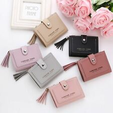 Cute Mini Girl PU Leather Multi-Slots Short Money Wallet With Tassels US Stock
