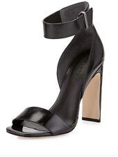 Halston Heritage Marylan Mirrored-Leather Flat-Heel Sandal Size 6