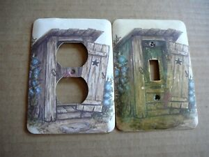 MULBERRY Vintage RUSTIC OUTHOUSE PRIVY - 2 WALL SWITCH & OUTLET PLATE COVERS
