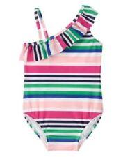 Gymboree NWT Girl's 18-24 3T Swim One piece Stripe Ruffle Swimsuit Pink Blue