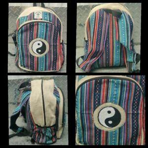 Hemp Bagpack colorful yingyang embroidered  Handmade organic sustainable bag.