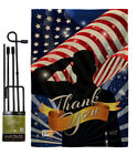 Thank You Burlap Garden Flag Service Armed Forces Gift Yard House Banner