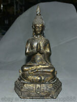 """16,4 """"temple tibétain en bronze doré statue de cochon siège de déesse Guan Yin"""