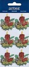 Red Christmas Candles Christmas Card Topper Craft Embellishment Sticker