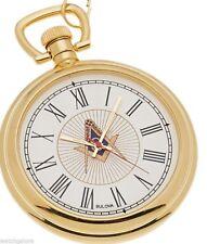 New Bulova Gold Plated Freemason Masonic Pocket Watch and Matching Chain