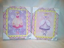 10 x 12 Set 2 GIRLY GIRL Princess Costumes Decor WALL CANVAS NIB Fairytales PINK