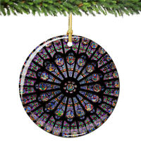 Notre Dame Cathedral Paris Porcelain Rose Window Christmas Ornament