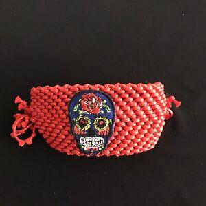 Bracelet Wide Knit Adjustable Sugar Skull Color Red