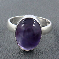 Natural Purple Amethyst Cabochon Gemstone 925 Sterling Silver Gift Ring Size 7