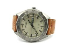 Brand New Authentic Citizen Titanium Watch Eco Drive with Brown Leather Strap