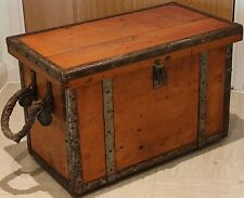 More details for large vintage wooden medical chest with rope handles - believed japanese navy