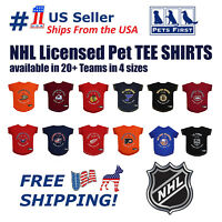 NHL Pet T-Shirt - Licensed, Wrinkle-free, stretchable Tee Shirt for Dogs & Cats.