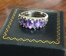 Heavy Ladies Antique 375 9ct Gold & Amethyst Eternity Ring Size P.5 ~ Stunning!