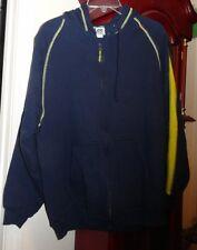 XL Mens Lee Sport Jacket Coat Navy Blue Yellow Trim Zip Hood Sweatshirt Pockets