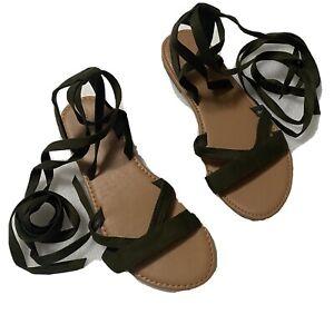 "FOREVER 21 Women's US 9.5 (Measures 10"") Gladiator Sandals Beige Olive Green EUC"
