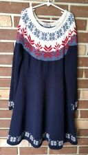 Hanna Andersson 140 Girls 10 Blue Fair Isle Snowflake Sweater DRESS