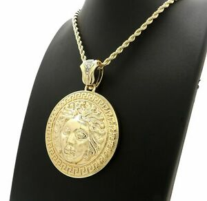 "Gold plated Rapper's Medusa Medal Pendant & 4mm 24"" Rope Chain Hip Hop Necklace"