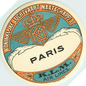 KLM ROYAL DUTCH AIRLINES to PARIS - Large & Beautiful Luggage Label, circa 1940