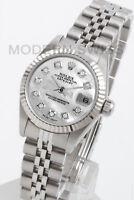 Rolex Ladies Datejust Steel White MOP Diamond 18K Gold Jubilee 69174 Quickset