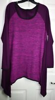 (Tag Cut) Sz 2X(?) Purple/black Striped Stretch Bell Sleeve Sharkbite Tunic Top