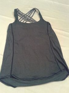 Lululemon Wild Tank Athletic Sports Top Shirt blue gray stripe dappled bra 6