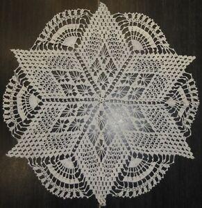 "Crochet tray cloth 18"" diameter.White Unused"
