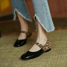 Women's Fashion Leather Two Tone Leopard Buckle Strap Mary Jane Flat Shoes SUNS