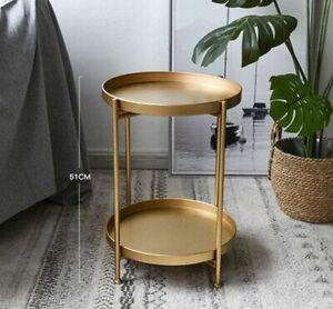 Simple Iron Double-layer Small Tea Table Round Coffee Mini Sofa Side Table