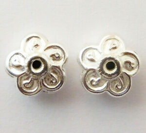 40 PCS 12X7MM FLOWER BEAD STERLING SILVER PLATED 611