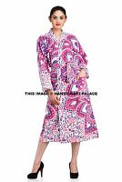 Indian Cotton Long Dressing Gown Ombre Mandala Kimono Hippie Bath Robe Sleepwear