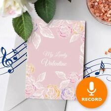 120s Valentines Card With Recordable Music - Valentine Roses Pink Floral 00016
