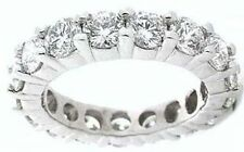 3.75 ct Platinum Round Diamond Ring Eternity Band 15 x 0.25 ct, D-E Vvs Gia sz 4