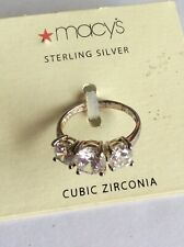 Sterling 925 Silver Cubic Zirconia Ring Size 6 Purchased From Macy's