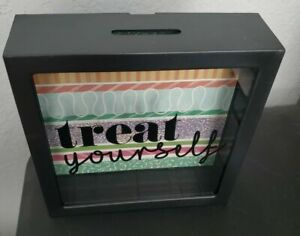 Treat Yourself Piggy Bank Shadowbox Money Savings Funds Coin Decor Spoil Pamper
