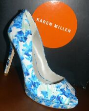 NEW KAREN MILLEN BLUE FLORAL HEELS UK 3 EU 36 FQ862 BNIB STILETTO £125 FREE P&P