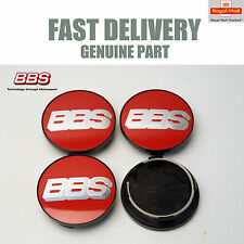 4x Genuine BBS Centre Caps Red and Silver 2D BBS Logo 70.6mm CK CH CH-R VZ NEW
