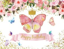 7x5ft Kids Girl Birthday Pink Flowers Butterfly Vinyl Backdrop Photo Background