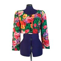 A.J. Bari Womens Vintage Bright Colorful Floral Cropped Jacket Size 4