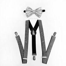 Bow Tie Set Wedding Prom Dance Dark Silver Glitter Suspenders & Matching Sequin