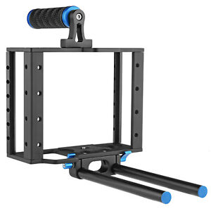 Opteka DSLR / Mirrorless Metal Camera Cage with Handgrip and 15mm Rail System