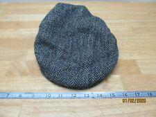 Harris Tweed Failsworth Flat Cap Size 7.25 Black Grey Herringbone 100% Wool