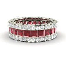 Real 14K White Gold 5.56 Ct Natural Diamond Ruby Gemstone Ring Eternity Band