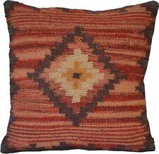 "Cushion Cover Kilim Diamond 20x20"" Wool Jute Indian Persian Moroccan Handmade"