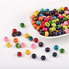 200PCS Jewelry Beads Mixed Round Wood Beads Dyed 7x6mm Hole: 3mm