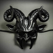 ILOVEMASKS Devil Krampus with Horn Metallic Black Masquerade Ball Party Mask