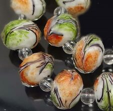 14 Czech glass Faceted Rondelle Beads - Orange Green Swirl 12x8mm