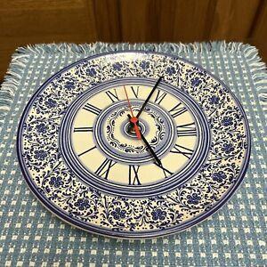"Williams Sonoma Ceramic Wall Clock Italy Cobalt Blue Floral 9.75"""