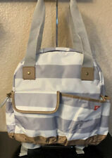 iPack White /Grey Striped Unisex Baby Diaper Bag Backpack Shoulder double handle