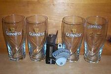 GUINNESS STOUT 4 GALAXY BEER PINT GLASSES & STATIONARY BOTTLE OPENER NEW