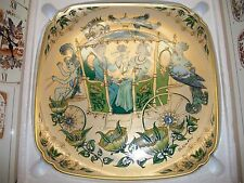 """OLE WINTER / 1979 PLATE/ WEDDING PLATE / 11 1/2"""" SQUARE/HUTSCHENREUTHER W/STAND"""